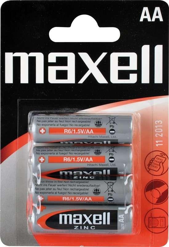 Batérie Maxell tužkové, R6 4BP, zinko-manganová batérie, 4 ks