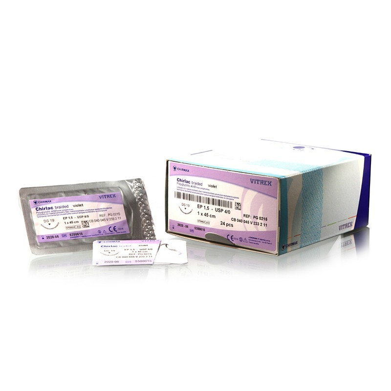 Chirlac braided violet 4/0 (EP1,5), 1 x 45 cm HR18, 24 ks v balení