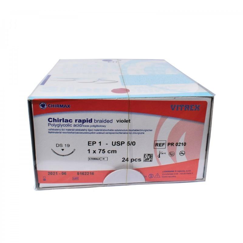 Chirlac rapid braided violet 4/0 (1,5) 75 cm HR22, 24 ks v balení