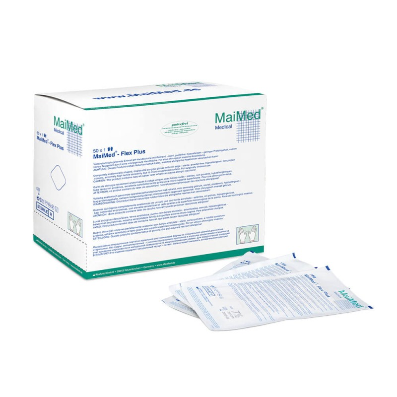 Chirurgické rukavice latex MaiMed, sterilné, nepúdrované, 1 pár