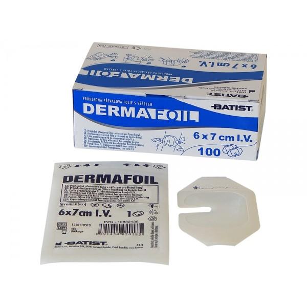 Dermafoil i. v. priehľ. preväzová fólia s výrezom 6 cm x 7 cm