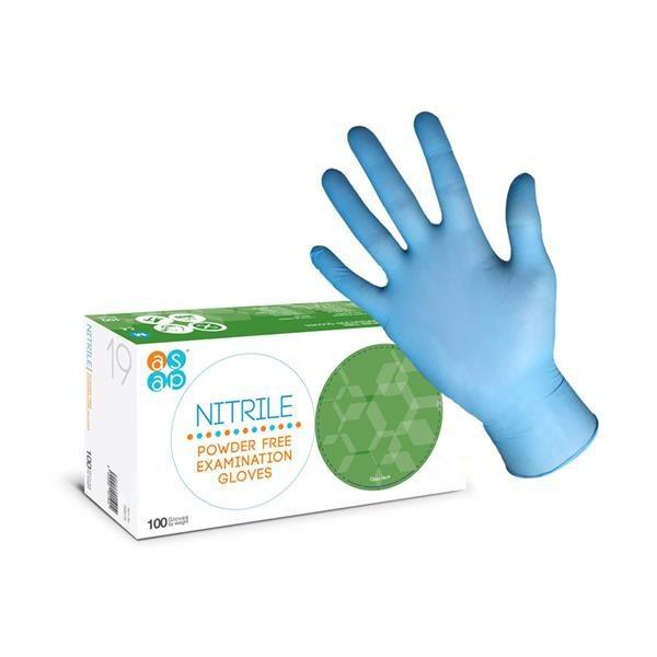 DOPRODEJ Vyšetřovací rukavice ASAP nitril, nepudrované, modré, vel. L, 100 ks