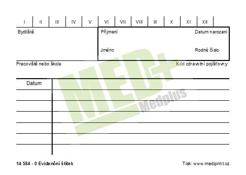 Evidenční štítek / tabulka, 100 ks v balení