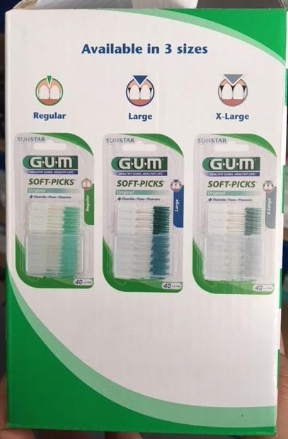 GUM Soft-Picks, ordinační balení, 2 ks ve vzorku, celkem 100 vzorků v kartonu
