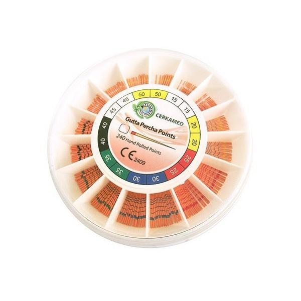 Gutaperčové čepy 4%, konicita 04, velikost 15-40, 240 kusů