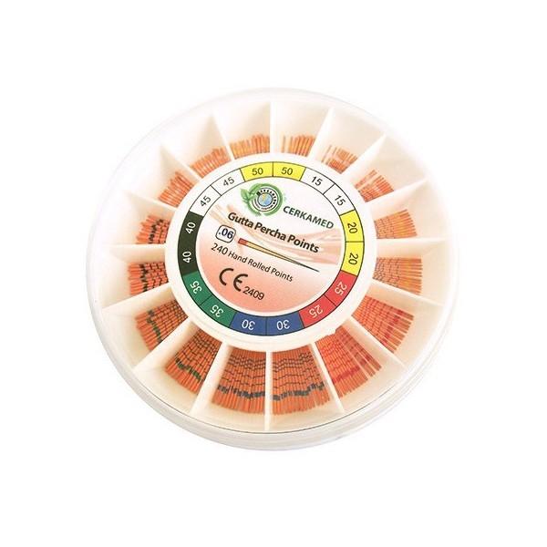 Gutaperčové čepy 6% s měrkou, konicita 06, velikost 15-40, 240 kusů