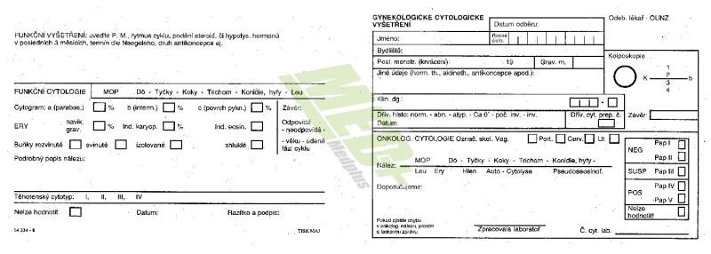 Gynekologické cytologické vyšetření – dvoulist
