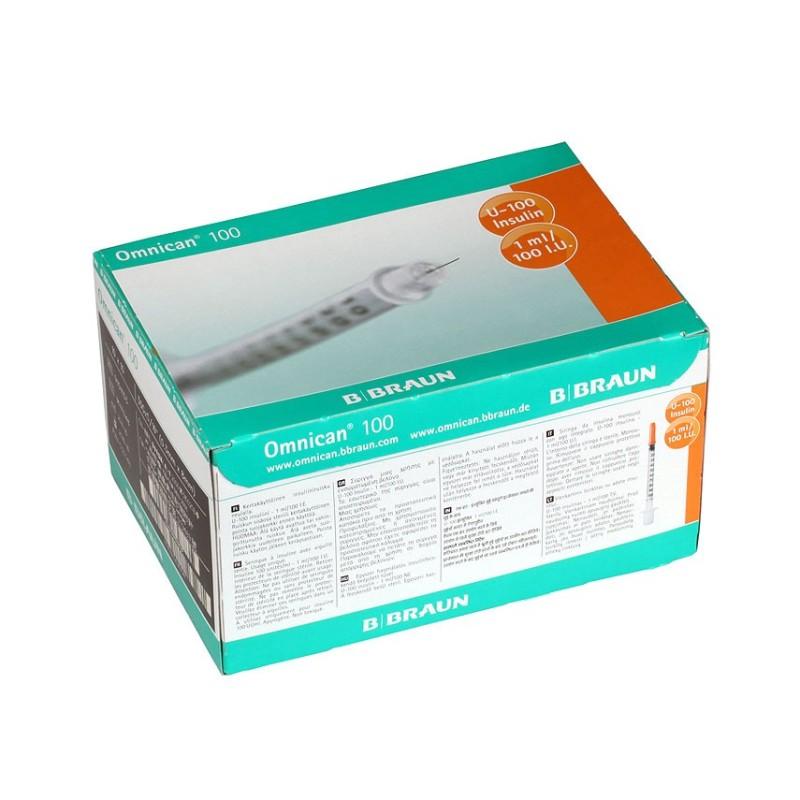 "Inzulinová striekačka Omnican s ihlou 100-100I.U./1ML 30G x 1/2"" 0,30 x 12 mm, inzulin 1 ml, 100 ks"