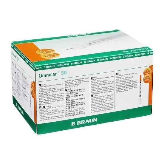 Inzulinová striekačka Omnican s ihlou 50-50I.U./0,5 ml, 30G 0,30 x 12 mm, inzulín 0,5 ml, 100 ks