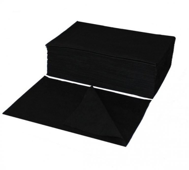 Jednorazové utierky/uteráky perforované, čierne, 70 x 40 cm, 50 ks