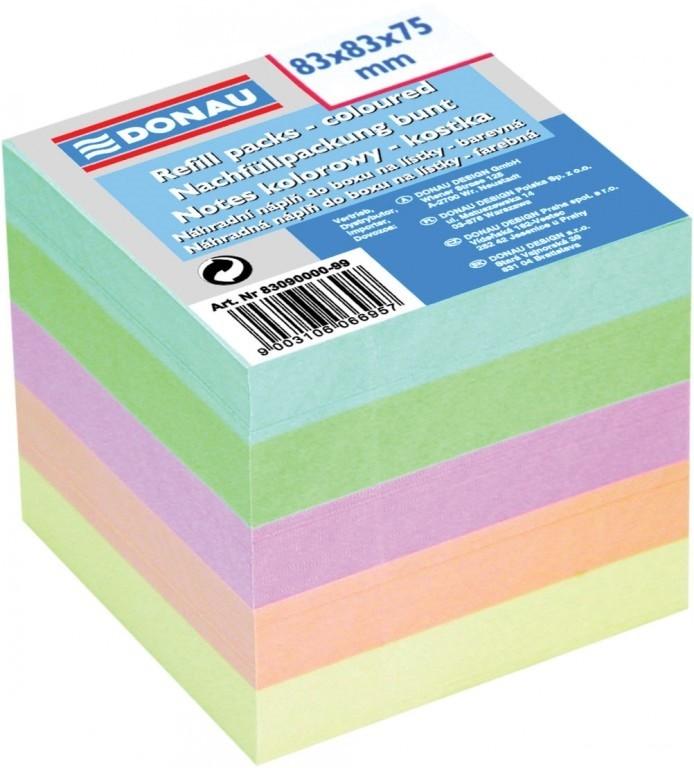 Kostka nelepená barevná - pastelové barvy, 83 x 83 x 75 mm
