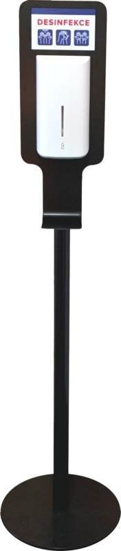 Kovový mobilní stojan na gelovou dezinfekci včetně bezdotykového dávkovače, černý + 400 KČ doprava