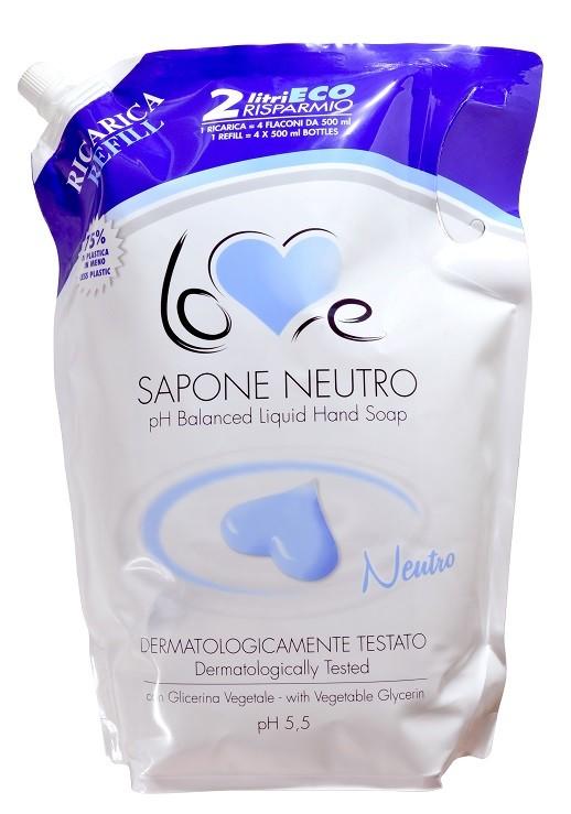 LOVE Sapone Cremoso Neutro Ecoricarica pH 5,5, tekuté mydlo, 2 l