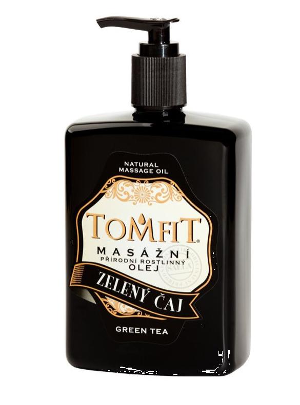 Masážní olej Tomfit, mandlový zelený čaj 500 ml + pumpička