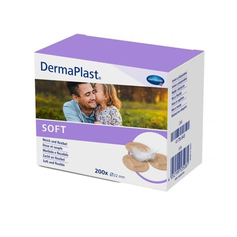 Náplasť DermaPlast Soft priemer 22 mm guľatá, netkaný textil, 200 ks