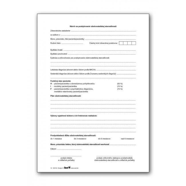Návrh na poskytovanie ošetrovateľskej starostlivosti, 20 ks