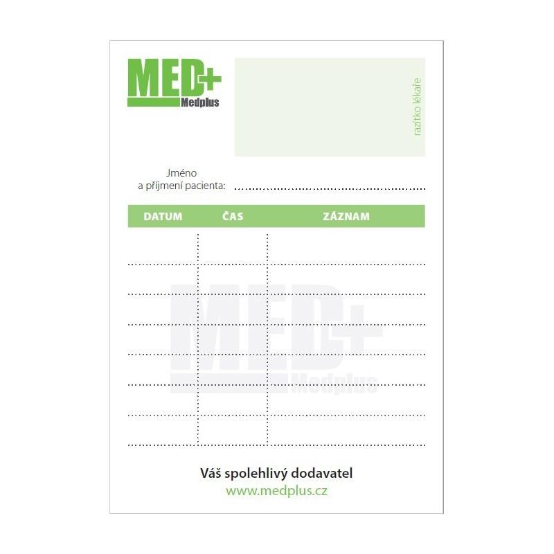 Objednací kartičky pro pacienty MEDPLUS, 50 ks v bloku