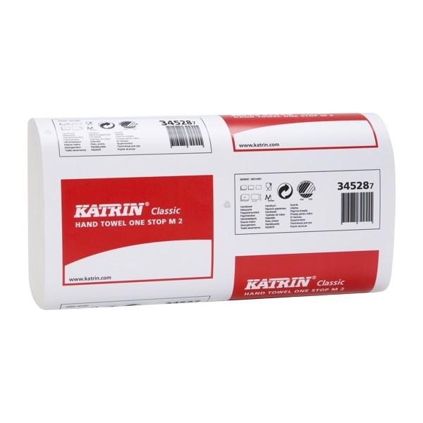 Papierové utierky skladané KATRIN Classic OneS top M2, biele, 3360 ks