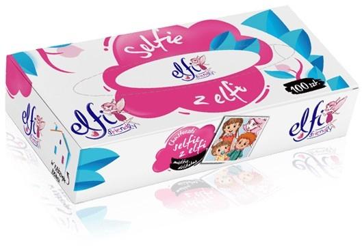 Papírové kapesníky - kosmetické ubrousky Elfi, 2-vrstvé, 100 ks v boxu
