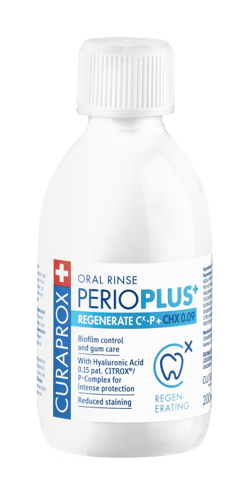 Perio Plus+ Regenerate ústna voda, 0,09% chlorhexidin, 200 ml