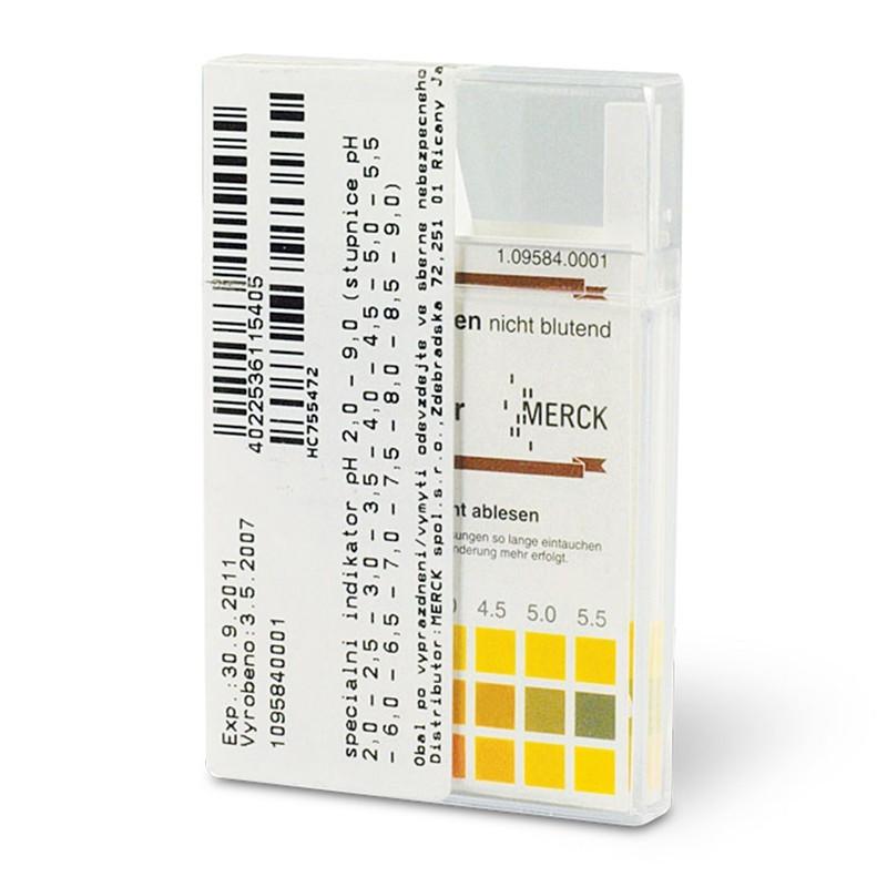 """pH indikátorové prúžky """"nekrvácajúce"""" pH 2.0–9.0, 100 ks"""