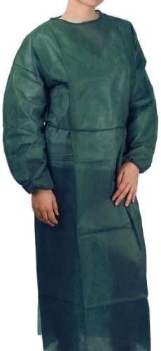 Plášť návštevnícky s gumičkou na rukávoch L/XL, zelený, tenší, 10 ks v balení