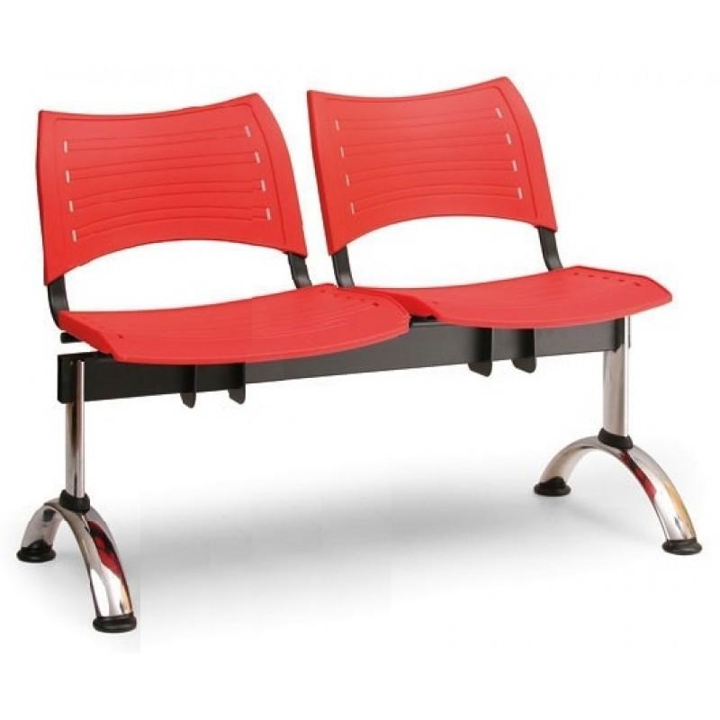 Plastová lavice červená Visio - podnož chromovaná