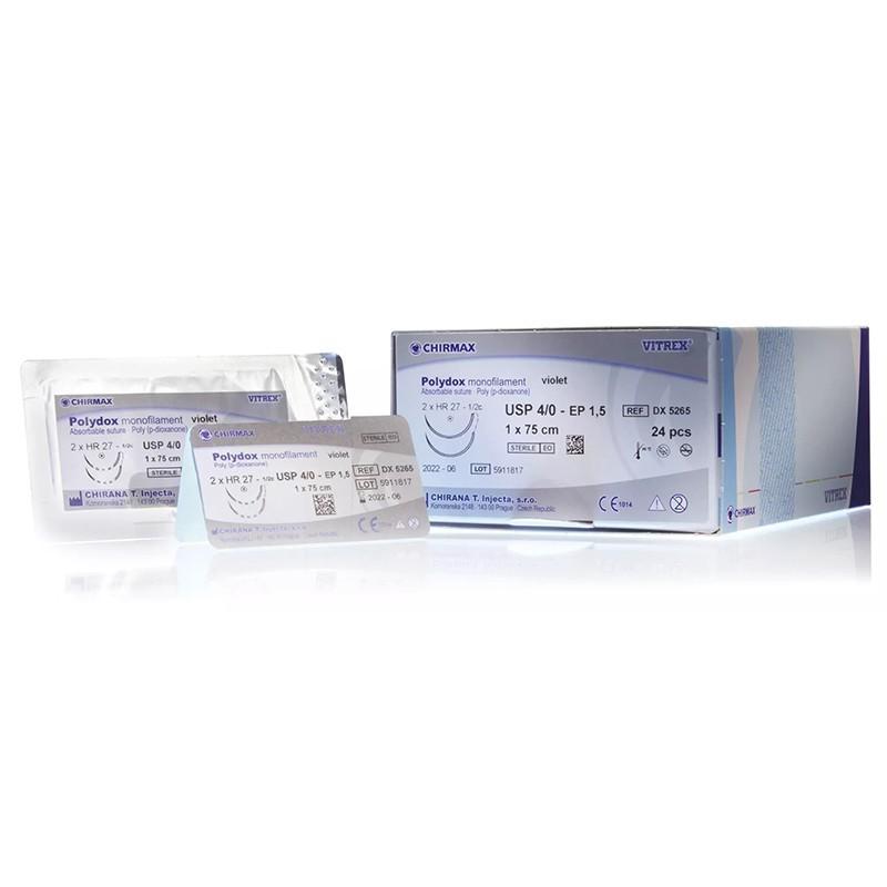 Polydox monofil fialový 70 cm, 24 ks v balení