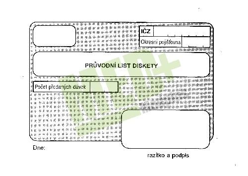Průvodní list diskety