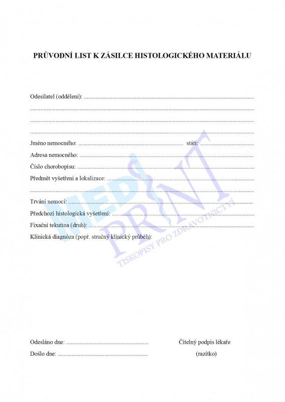 Průvodní list k zásilce histologického materiálu