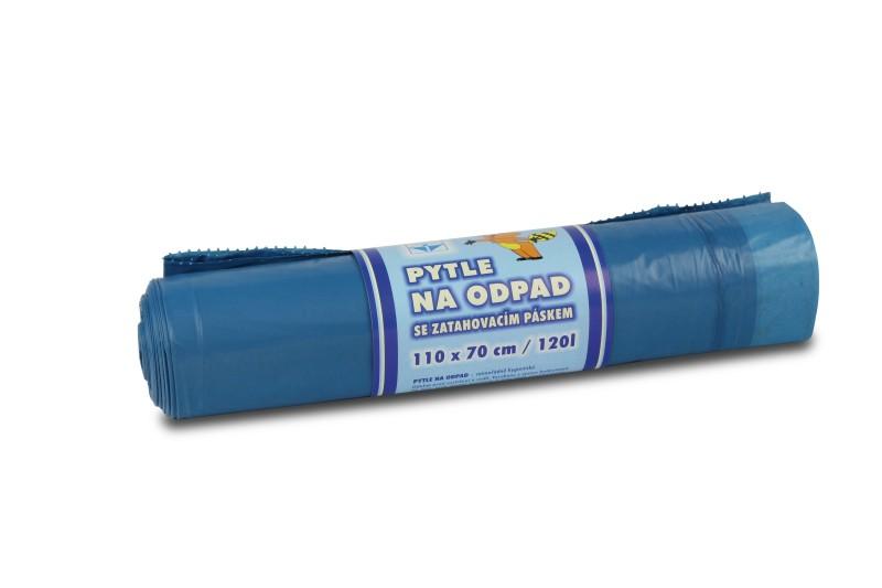 Pytel na odpad s páskou LDPE TOP 120 l, modrý, 10 ks/role