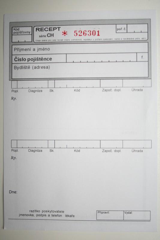 Recept číslovaný, blok