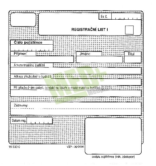 Registrační list - blok, 2 x 50 listů
