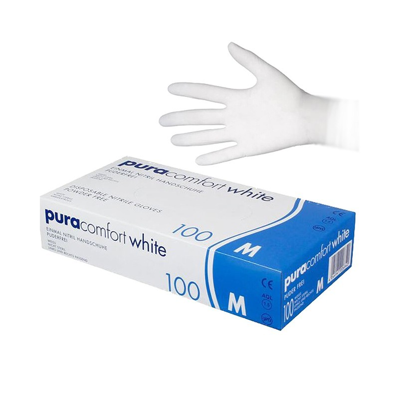 Rukavice nitrilové Pura comfort, biele, veľ. XL, 100 ks