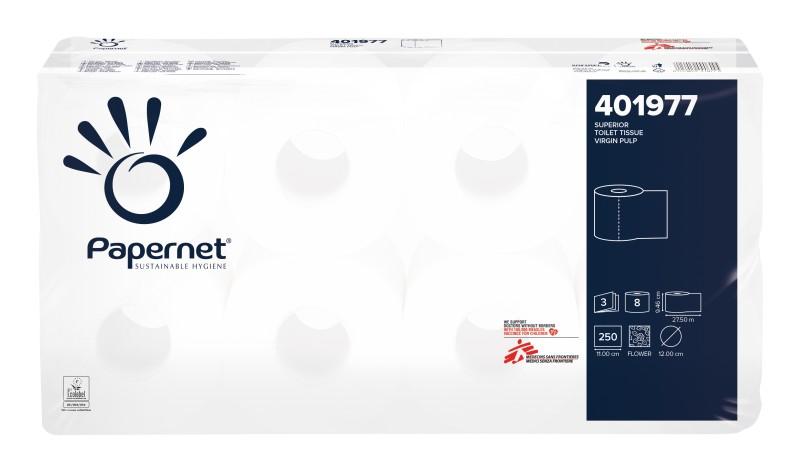 Toaletní papír Papernet, 3-vrstvý, 8 rolí v balení