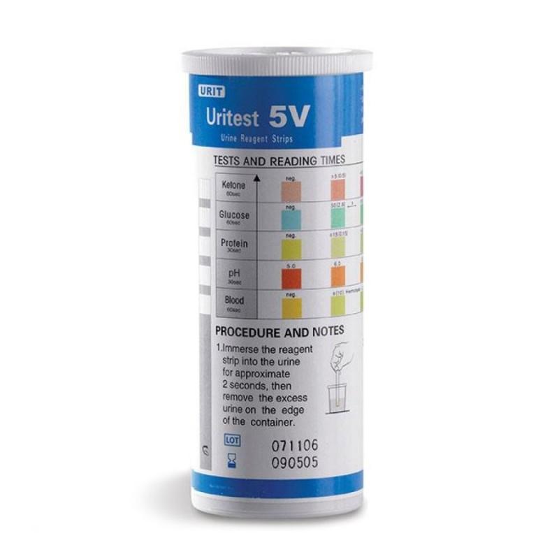 Uritest V5 – pH, bílkoviny, glukosa, ketolátky, krev, 100 ks