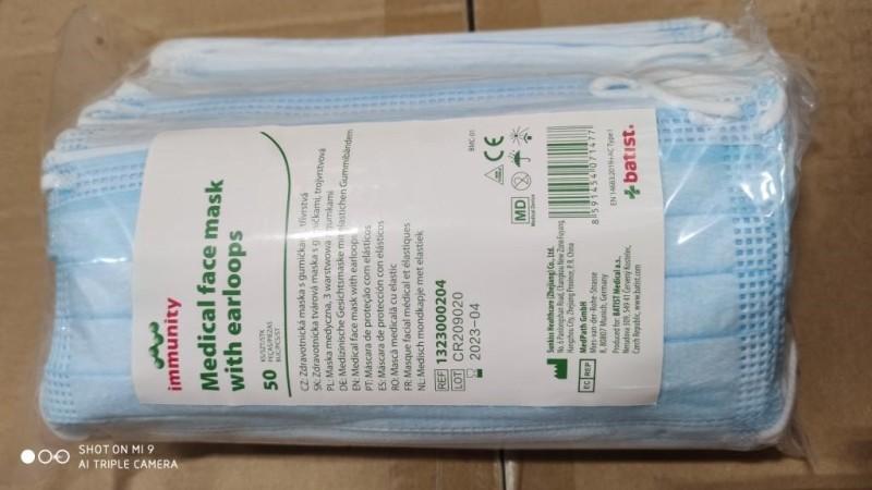 Ústenky s gumičkou 3-vrstvové Batist immunity modré, 50 ks