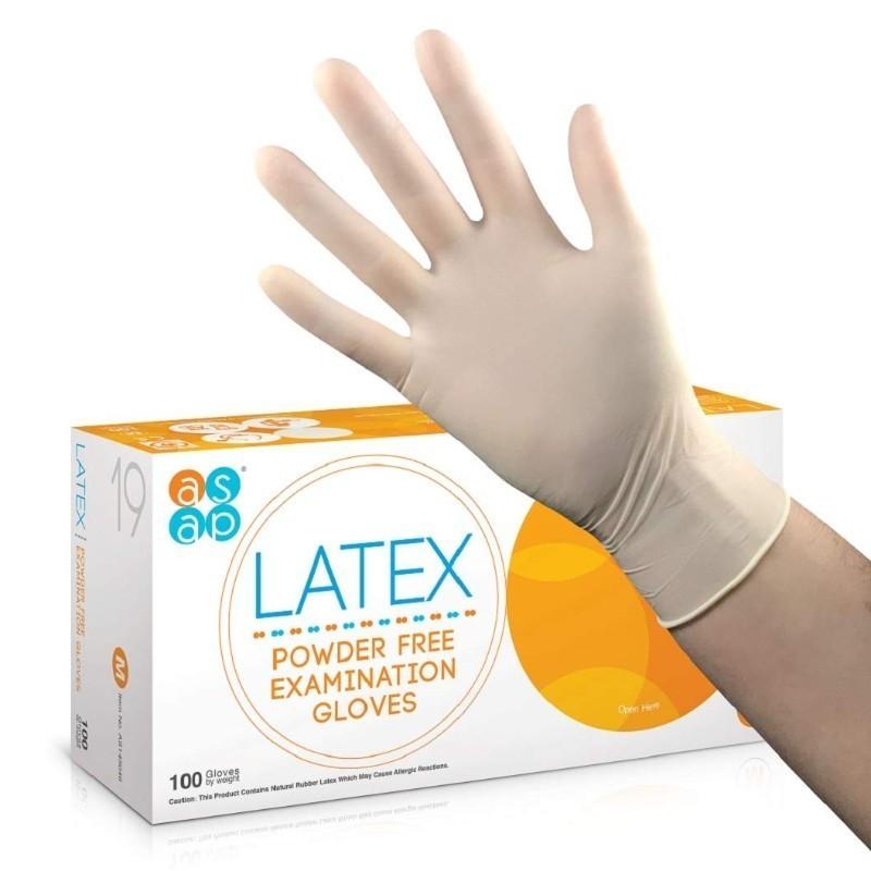 Vyšetřovací rukavice ASAP latex, nepudrované, vel. L, 100 ks