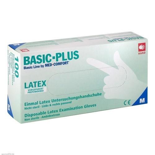 Vyšetřovací rukavice Basic Plus, latex, pudrované, 100 ks