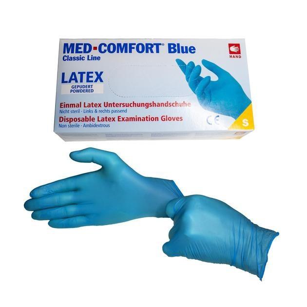 Vyšetřovací rukavice Med Comfort latex, pudrované, modré, 100 ks