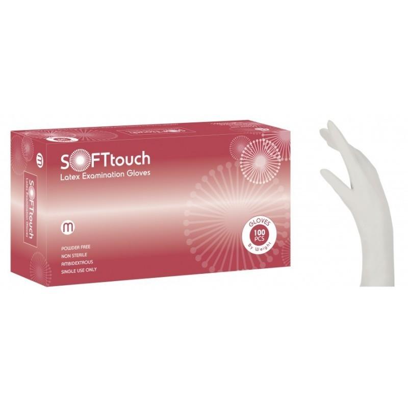 Vyšetřovací rukavice Soft Touch, latex, nepudrované, bílé, 100 ks