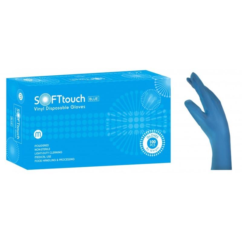 Vyšetřovací rukavice Soft Touch, vinyl, pudrované, modré, 100 ks