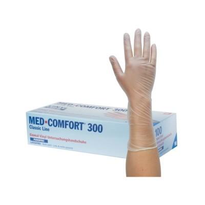 Vyšetrovacie rukavice Med Comfort 300 vinyl, nepúdrované, predĺžené, biele, veľ. S, 100 ks