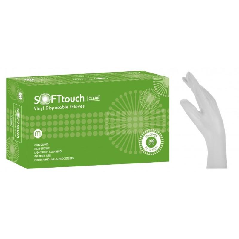 Vyšetrovacie rukavice Soft Touch, vinyl, púdrované, biele, veľ. L, 100 ks