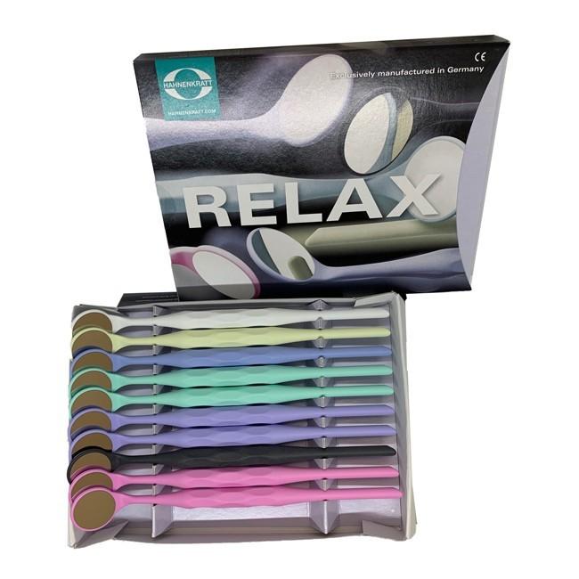 Zubné zrkadielko Relax, rhodiované, veľ. 4, ploché, 10 ks