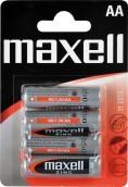 Baterie Maxell tužkové, R6 4BP, zinko-manganová baterie, 4 ks v balení
