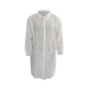 Plášť návštěvnický s gumičkou na rukávech, bílý , suchý zips, 10 ks