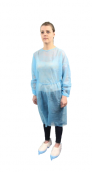 Plášť návštěvnický s gumičkou na rukávech, modrý , 10 ks