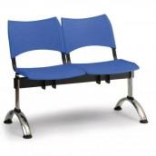 Plastová lavica modrá Visio - podnož chrómovaná
