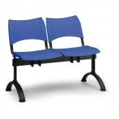 Plastová lavica modrá Visio - podnož čierna